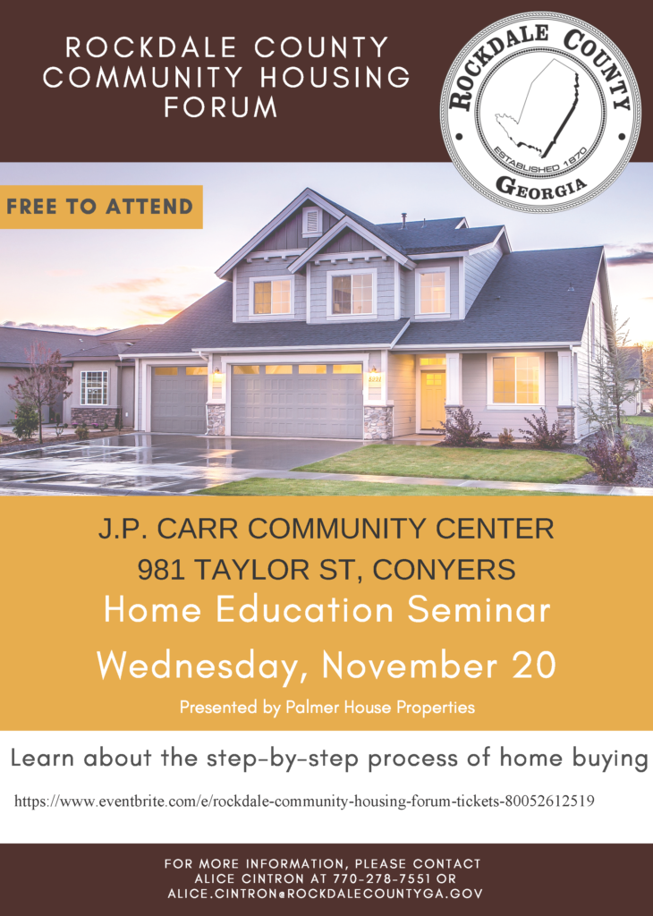 Housing Forum - Home Purchase Opportunities @ J.P. Carr Community Center
