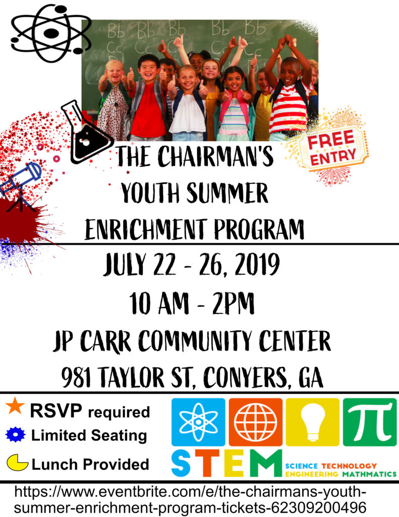 Chairman's Youth Summer Enrichment Program @ J.P. Carr Community Center