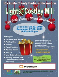 Celebrate the Holiday Season at Rockdale County's  Second Annual Lights @ Costley Mill Park