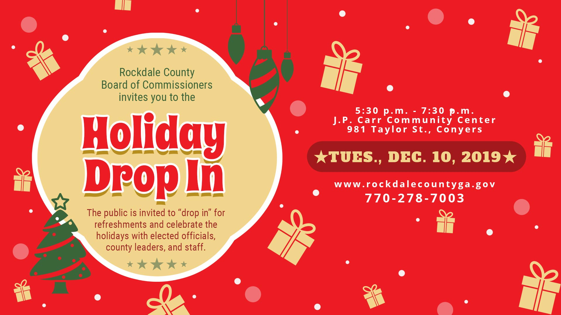 BOC Holiday Drop-In @ J.P. Carr Community Center