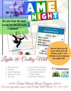 Lights@Costley Mill - Karaoke & Game Night @ Costley Mill Park