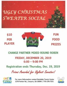 Ugly Christmas Sweater Tennis Social @ Rockdale Tennis Center