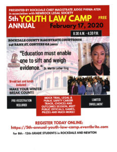 5th Annual Youth Law Camp @ Rockdale County Magistrate Courtroom