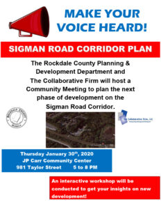 Sigman Road Corridor Plan Community Meeting @ J. P. Carr Community Center
