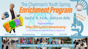 The Chairman's Youth Spring Enrichment Program -- April 6-8, 2020 @ J. P. Carr Community Center