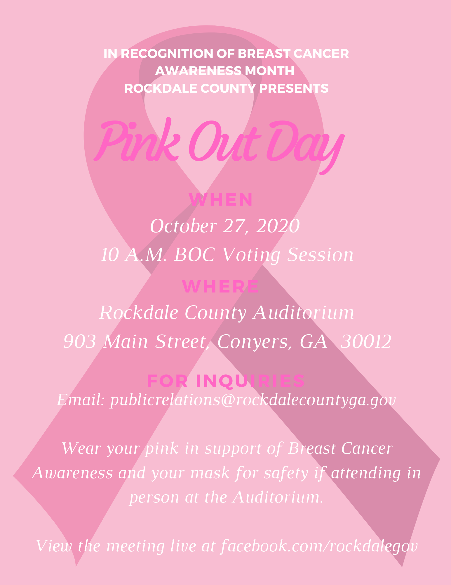 Pink Out Day For Breast Cancer Awareness @ Rockdale Auditorium