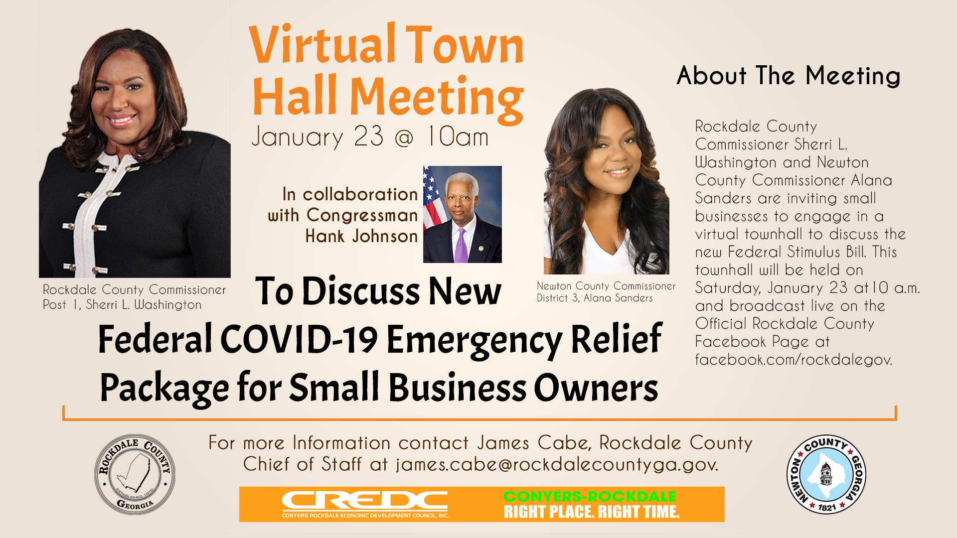 Virtual Town Hall Meeting @ Rockdale County Government Official Facebook Page